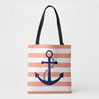 Nautical Navy Blue Anchor Coral Peach Stripe Beach Tote Bag
