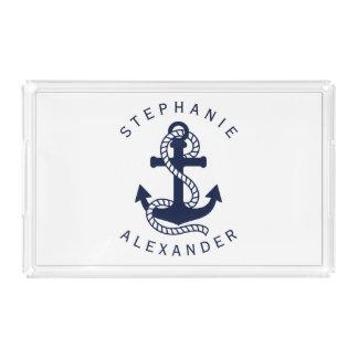 Nautical Navy Blue Anchor Custom Name Serving Tray