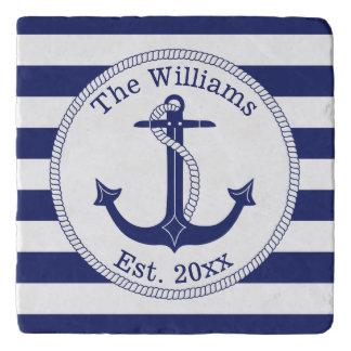 Nautical Navy Blue Anchor Family Name Trivet