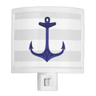 Nautical Navy Blue Anchor Gray White Stripes Night Light