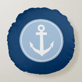 Nautical navy blue anchor monogram round pillow