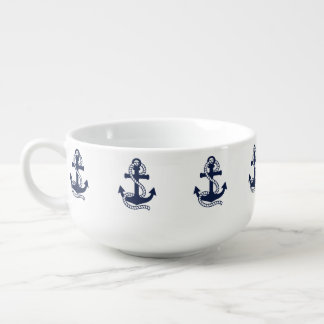 Nautical Navy Blue Anchor {pick your color} Soup Mug