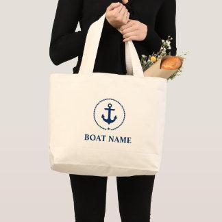 Nautical Navy Blue Anchor Rope Jumbo Tote Bag