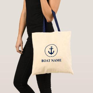 Nautical Navy Blue Anchor Rope Tote Bag BH