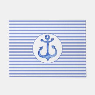 Nautical Navy Blue Anchor & Stripes Door Mat