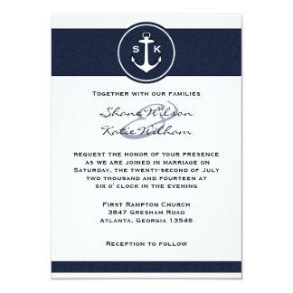 Nautical Navy Blue Anchor Wedding Invitation