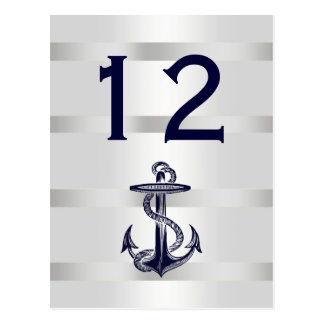 Nautical Navy Blue Anchor White BG V Table Number Postcard