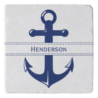 Nautical Navy Blue Anchor with Text Band Trivet