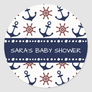 Nautical Navy Blue and red Anchor rudder pattern Classic Round Sticker