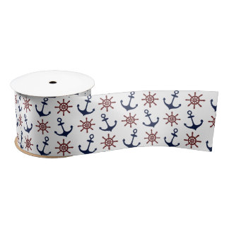 Nautical Navy Blue and red Anchor rudder pattern Satin Ribbon