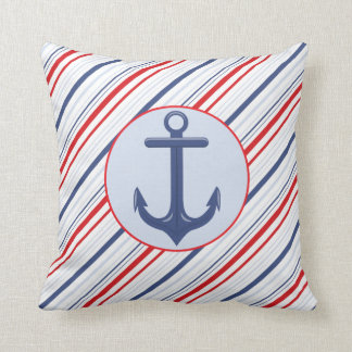 Nautical Navy Blue and Red Stripes Anchor Throw Pillow