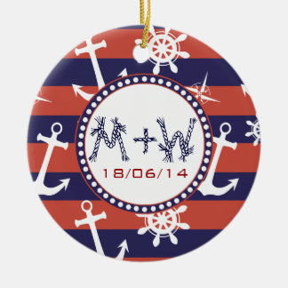 Nautical navy blue and red stripes save the date ceramic ornament