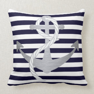 Nautical Navy Blue and Silver Anchor Sailing Throw Pillow