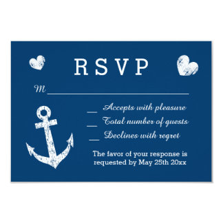 "Nautical navy blue and white RSVP wedding cards 3.5"" X 5"" Invitation Card"