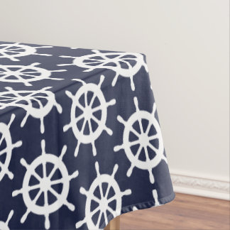 Nautical navy blue and white ship wheel tablecloth