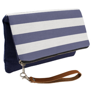 Nautical Navy Blue and White Stripes Clutch
