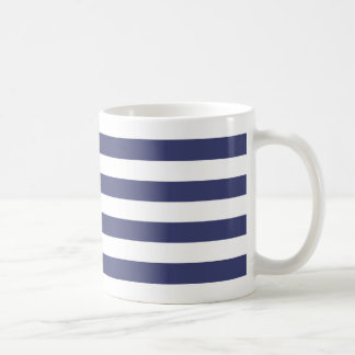 Nautical Navy Blue and White Stripes Coffee Mug