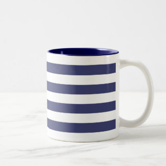 Nautical Navy Blue and White Stripes Two-Tone Coffee Mug