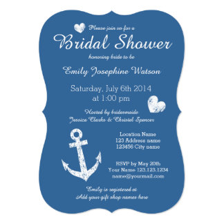Nautical navy blue bridal shower invitations