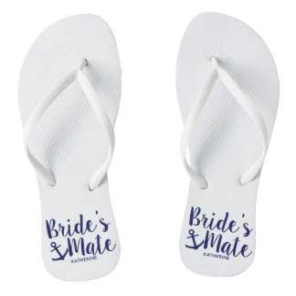Nautical navy blue bride's mate anchor bridesmaid flip flops