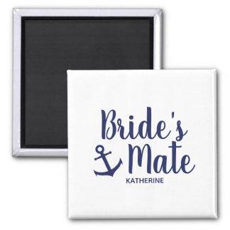 Nautical navy blue bride's mate anchor bridesmaid magnet
