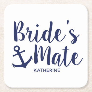 Nautical navy blue bride's mate anchor bridesmaid square paper coaster
