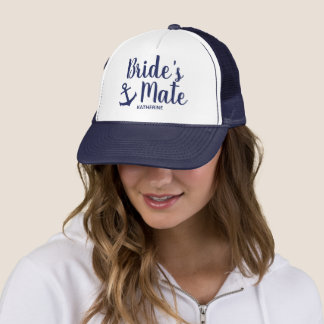 Nautical navy blue bride's mate anchor bridesmaid trucker hat