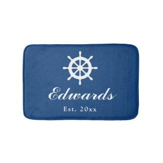 Nautical navy blue custom family name bath mat rug