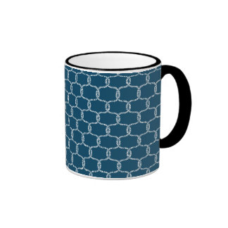 Nautical Navy blue Fishing Net Beach Print Ringer Mug