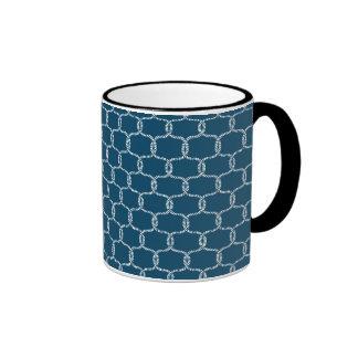 Nautical Navy blue Fishing Net Beach Print Ringer Coffee Mug