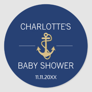 Nautical Navy Blue Gold Anchor White BABY SHOWER Classic Round Sticker