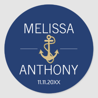 Nautical Navy Blue Gold Anchor White Wedding Classic Round Sticker