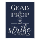 Nautical Navy blue Grab a prop strike Print