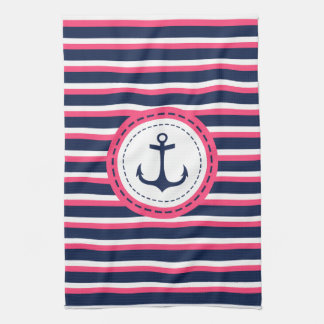 Nautical Navy Blue Hot Pink Stripes Anchor Design Kitchen Towels