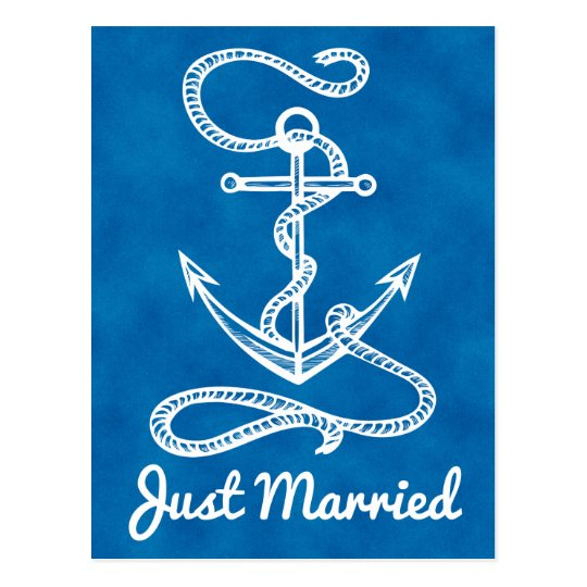 Nautical Navy Blue Just Married Anchor Watercolor Postcard