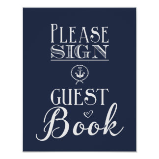 Nautical Navy blue Please sign guest book print