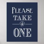 Nautical Navy Blue Please take one print favour