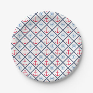 Nautical Navy Blue Red Anchor Ship Wheel Party Paper Plate