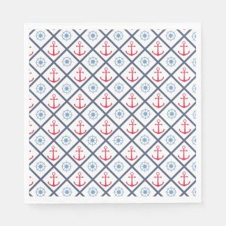 Nautical Navy Blue, Red Anchor,  Ship Wheel Sailor Paper Napkin