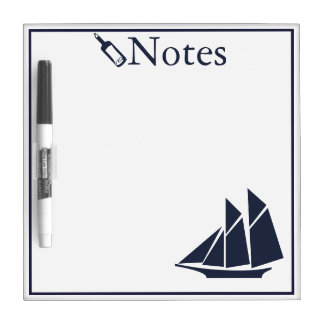 Nautical Navy Blue Sailboat Dry Erase Board