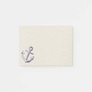 Nautical Navy Blue Ship Anchor Sailor Tan Beach Post-it Notes