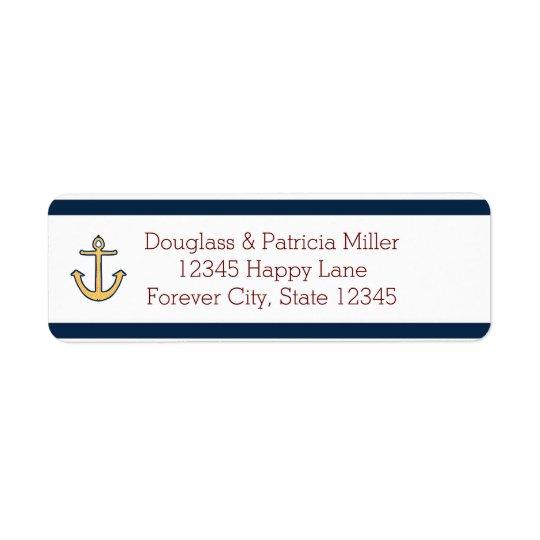 Nautical Navy Blue Stripes Anchor Return Address Label
