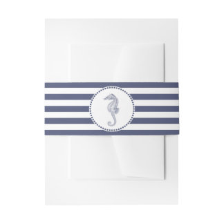 Nautical Navy Blue Stripes | Seahorse Invitation Belly Band