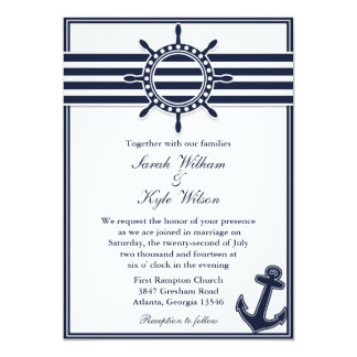 Nautical Navy Blue Swallows Wedding Invitation