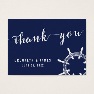 Nautical Navy Blue Wedding Favor Tags Wheel Business Card