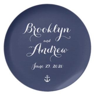Nautical Navy Blue Wedding Gifts - Melamine Plate