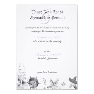 Nautical Navy Blue Wedding Invitation