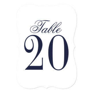 Nautical Navy Blue Wedding Table Number Card