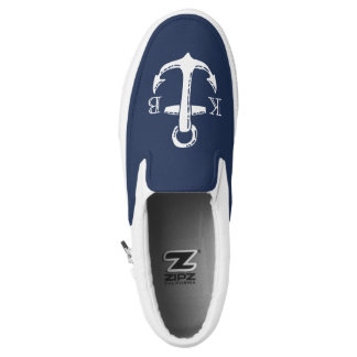 Nautical Navy Blue & White Anchor Initial Monogram Slip-On Sneakers
