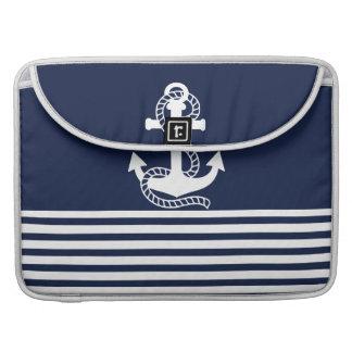 Nautical Navy Blue/White Anchor MacBook Pro Sleeve
